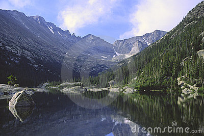 Mountain reflections in a lake