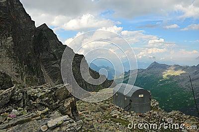 Mountain Refuge perched on ledge