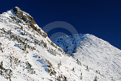 Mountain ridge in winter