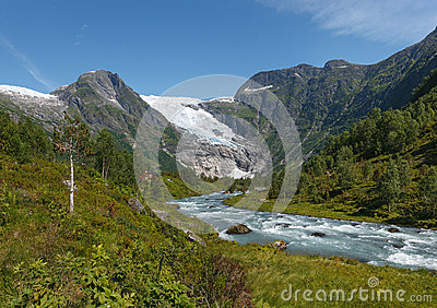 Mountain river formed by meltwater of glacier