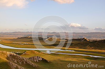Mountain, River and Grassland