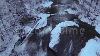 Mountain river in winter. Mountain river (eistobel, bavaria, germany) in winter stock video footage