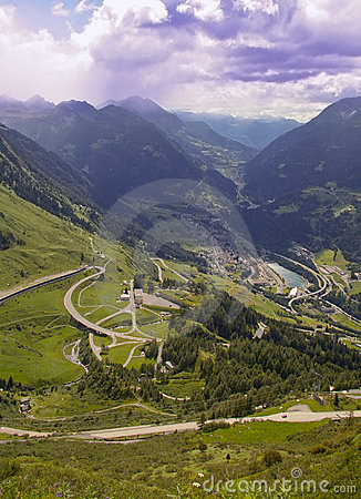 Mountain road and village valley italian alps