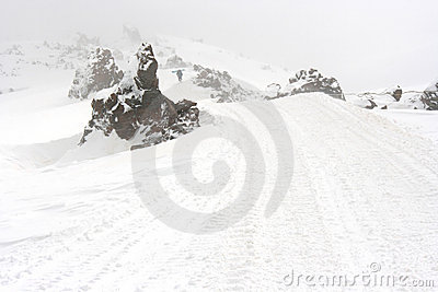 Mountain road in the winter