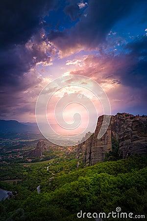 Free Mountain Scenery With Meteora Rocks And Monastery Royalty Free Stock Photo - 119094775