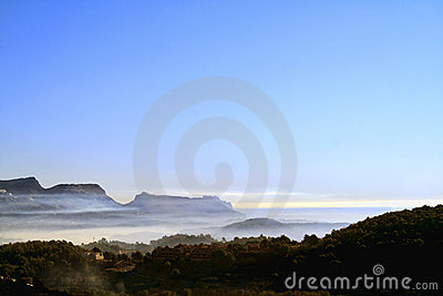 Mountain and sea mist
