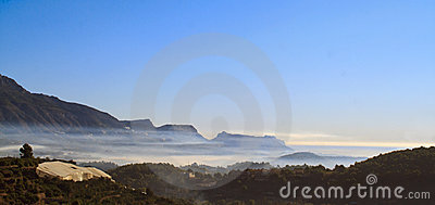 Mountain and sea mist