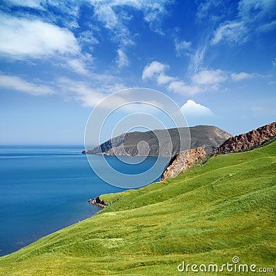 Mountain, sea, sky