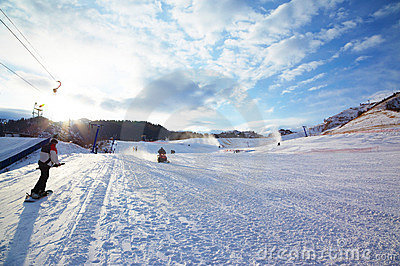 Mountain ski resort slope