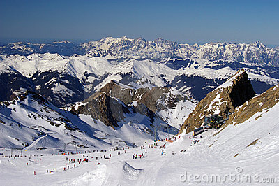 Mountain ski slope glacier austria with skiers