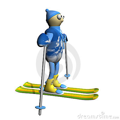 The mountain skier costs on mountain skiing, 3d