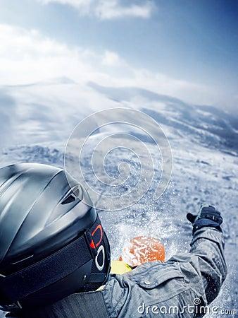 Mountain-skier jump
