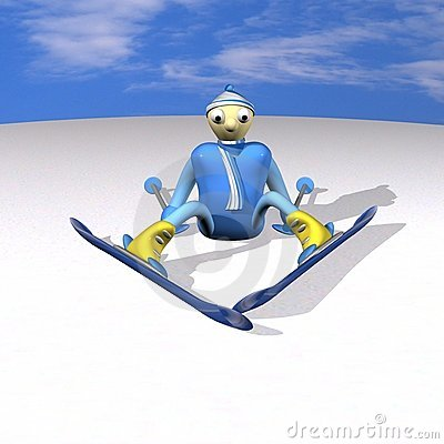 The mountain skier sits on snow