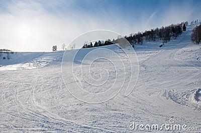 Mountain skiing line background nobody