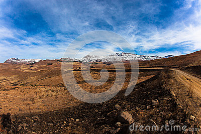 Mountain Snow Dry Dirt Road