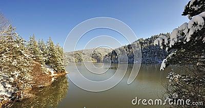 Mountain Snow Scene and lake