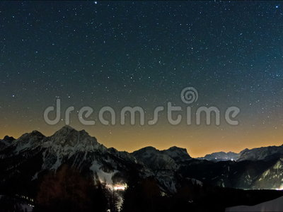 Mountain stars time lapse. Time lapse of the night sky in the mountains with lots of stars stock video
