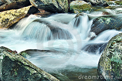 Mountain Stream Cascading over Rocks