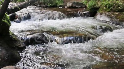 Mountain Stream Stepping Down Some Boulders stock footage