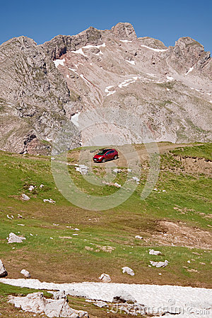 Mountain Summit And Car