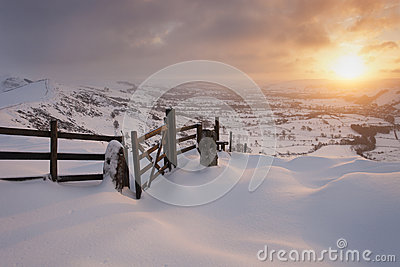 Mountain sunrise in snow