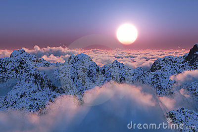 Mountain sunset beyond the clouds