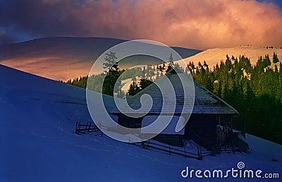 Mountain Sunset in Winter-2