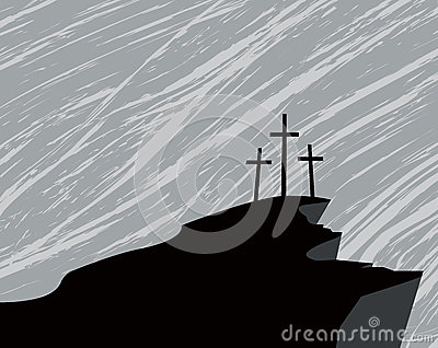 Mountain with three crosses and a storm in the sky Vector Illustration