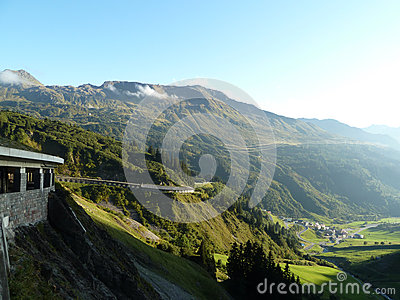 Mountain and Valley Landscape with curvy road