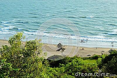 Mountain view of beach from Goa Stock Photo