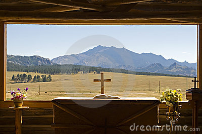 Mountain view from church window