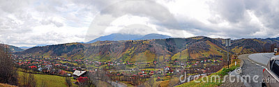 Mountain village and 180 degree road