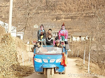 In the mountain village demonstration poses Editorial Stock Photo
