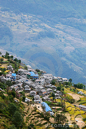 Mountain village in Nepal