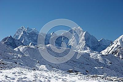 Mountain village after snowfall, Himalayas, Nepal