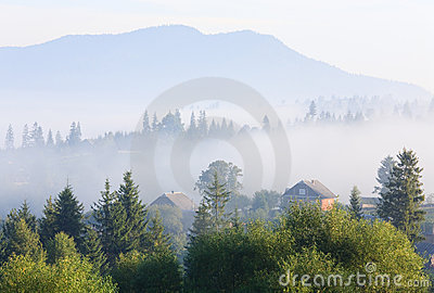 Mountain village (summer countryside landscape)