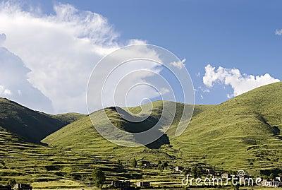 Mountain village under sky