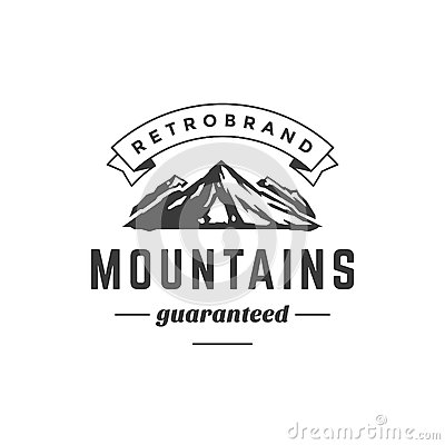 Free Mountain Vintage Logo Template Emblem. High Rock Stock Images - 61709184