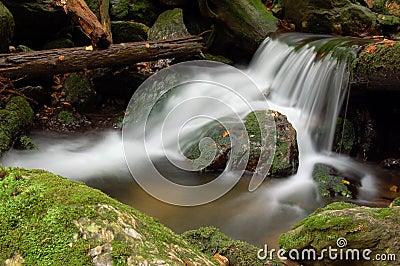 Mountain waterfall in bohemia