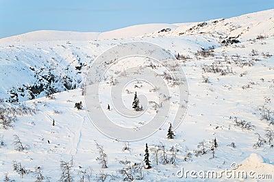 Mountain in winter season