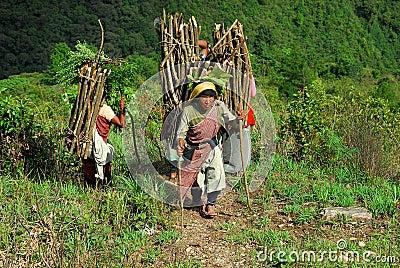 Mountain Women in India Editorial Stock Image