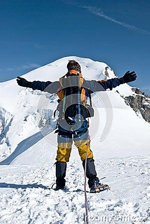 Free Mountaineer Embracing Peak Stock Photos - 6549773