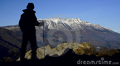 Mountaineer in the natural park of Aizkorri