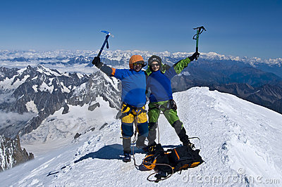 Mountaineers on top of alps - succes