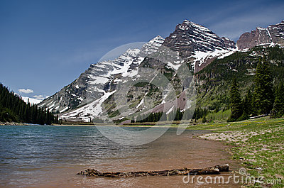 Mountains above blue pond