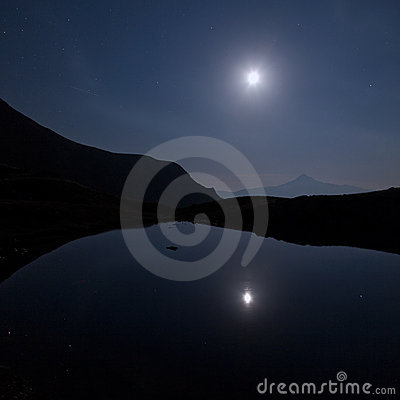 Free Mountains And Lake Of The Lausfer Under The Moon Stock Photos - 20282063