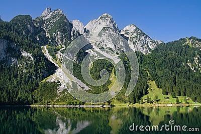 Mountains bordering a lake