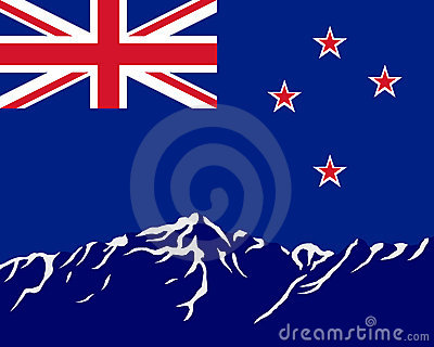 Mountains with flag of New Zealand
