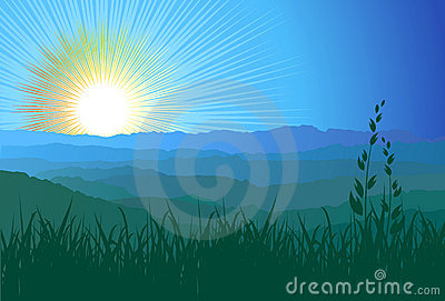 Mountains, grass and sunlight / vector