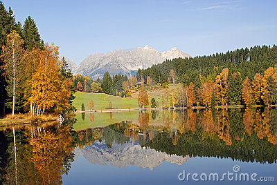 Mountains and lake at Schwarzsee - Kitzbuhel Austr